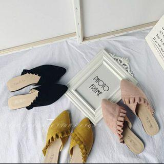 拖鞋女夏外穿2019新款花邊半拖鞋韓版尖頭一字拖鞋平底穆勒鞋