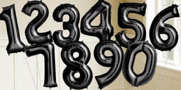 balon angka warna hitam