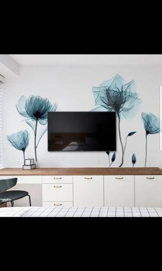 🚚 🎉New Arrival Romantic flower wall stickers self-adhesive living room TV background wall decoration stickers bedroom wall stickers small fresh wall stickers ⭕Size see last picture