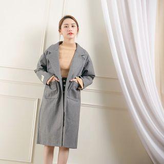 全新轉賣-翻領設計雙口袋長版毛呢大衣/長袖大衣/毛呢外套/長袖外套/長大衣