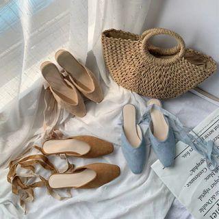 網紅涼鞋女夏2019新款韓版絨面交叉綁帶包頭拖鞋方頭粗跟穆勒鞋潮