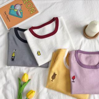 Korean knitted ringer embroidery tee : korea style brand new women fashion 2019 ulzzang knitted stretchable ringer tee embroidered design pastel colour loose harajuku simple minimalistic basic  colourblock round neck collar short sleeve ribbed shirt