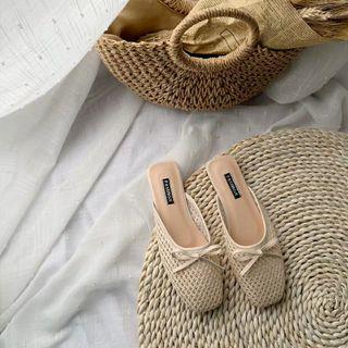 杏色系 低飽和度 編織草編度假涼鞋 包頭半拖 大碼