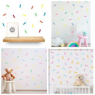 🎉Nordic ins creative home decoration colourful confetti sprinkles rainbow ribbon birthday party photography background PVC wall stickers children's room wall decal ⭕Size 6*1.5cm $10=50pcs . $20=110pcs Mix16 colors ( Actual picture 10 )