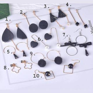 『Oriana』黑色氣質系列📌1對價📌代改耳夾📌現貨秒出耳釘耳針耳環耳飾
