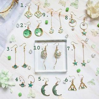 『Oriana』璀璨星空-綠📌1對價📌代改耳夾📌現貨秒出耳釘耳針耳環耳飾