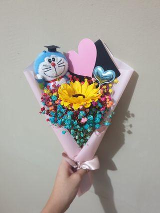 Graduation Doraemon Baby breaths Bouquet with Sunflower #EndGameyourExcess