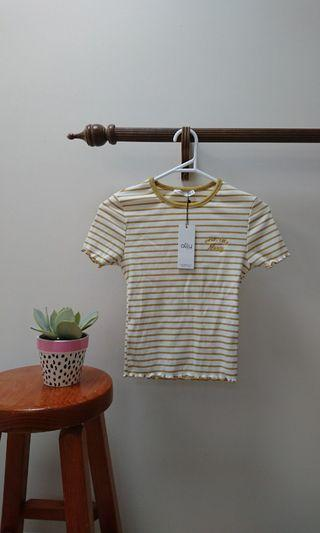 mustard ribbed sweet like honey lettuce hem embroidered tshirt size xs