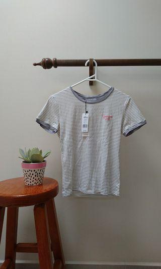 sweet blue stripey ringer tshirt size xs