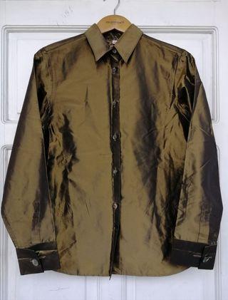 ROMEO GIGLI Metallic Gold Button Down Shirt