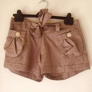 Raspberry and Mocha Striped Ribbon Shorts
