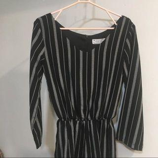 TTR Black And White Striped Patterned Long Sleeve Playsuit Romper