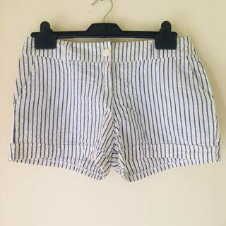 Preppy Blue and White Pinstriped Cotton Shorts