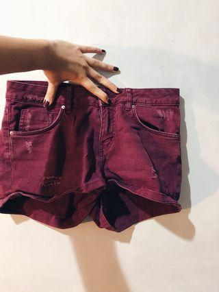 H&M Divided Maroon Short Jeans