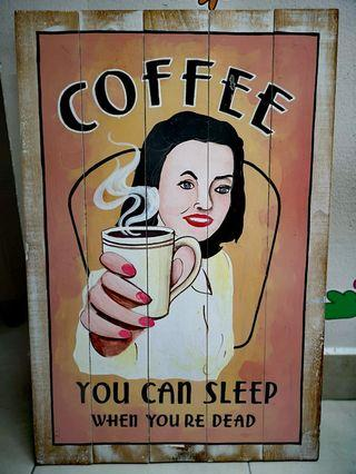 Wooden Handpainted Poster - COFFEE