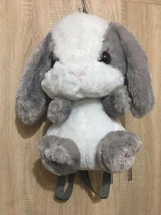 灰白毛絨絨垂耳兔後背包🐰