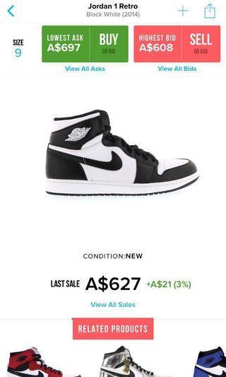 info for a5340 833f2 Air Jordan 1 Retro High OG 2014 (B W)