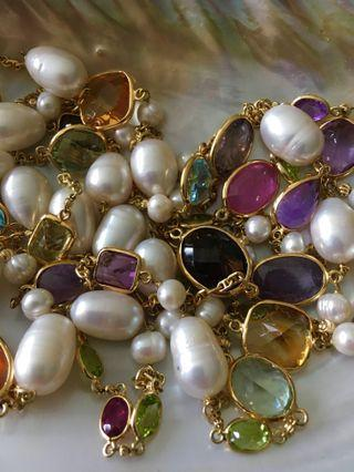 Pearl with semi precious stones necklace