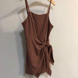 Mauve Taupe Overlap Tie Front Wrap Sleeveless Halter Romper