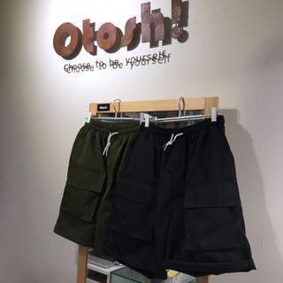 0218 Otoshi 多口袋 方型 工裝 反光面 短褲 褲子