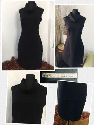 Zara Basic black turtle neck dress