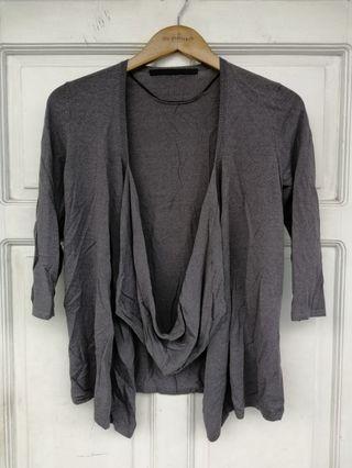 GIORDANO Grey Asymmetrical Cardigan