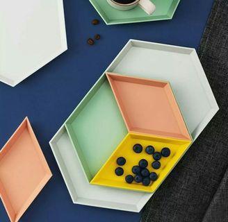 4pcs/set Creative Geometric Dessert Plates