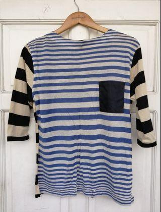 GREYHOUND Striped Boatneck Pullover