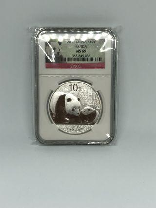 🚚 2011 Chinese panda silver coin Ngc certified ms 69