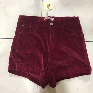 Maroon / Red Velvet High waist shorts