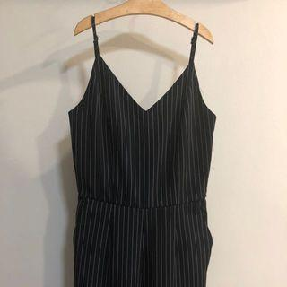 The Editor's Market TEM Navy Blue Pinstriped Long V Neck Jumpsuit