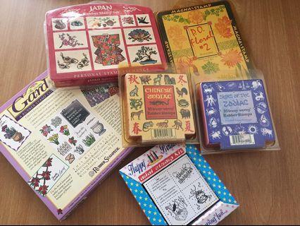 Assortment of 6 rubber stamps set #MRTJurongEast