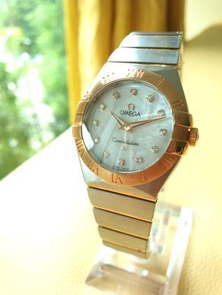 Omega Constellation Rose Gold Diamonds Mother of Pearl Steel Ladies Quartz
