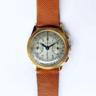 🚚 Vintage 18k stepped case cyma chronograph