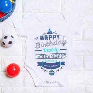 Instock - happy birthday daddy romper, baby infant toddler girl boy