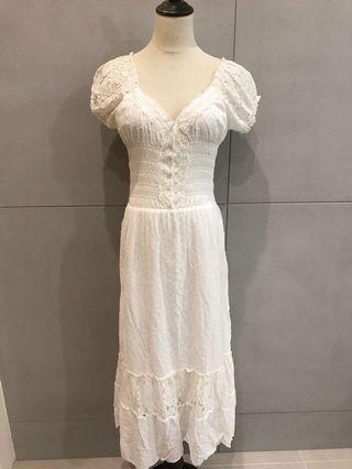 蕾絲白棉長洋裝
