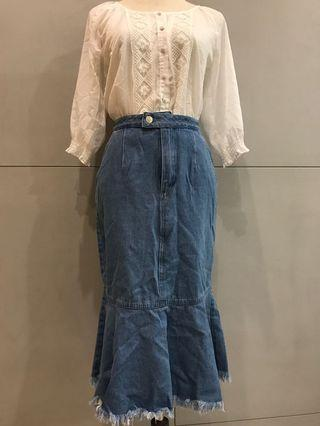 🚚 LOVFEE牛仔魚尾長裙