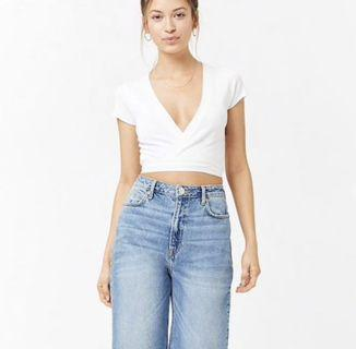 F21 KNITTED SELF TIE CROP TOP