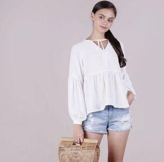 TTR BELL SLEEVE TOP IN WHITE