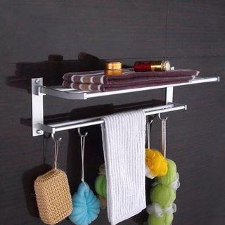 基本款免打孔/打孔加厚 浴室太空鋁吸壁式洗手間毛巾架雙桿掛件