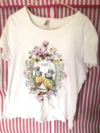 🚚 二手 泰國帶回 專櫃 白色上衣 可愛圖樣 #一百以下