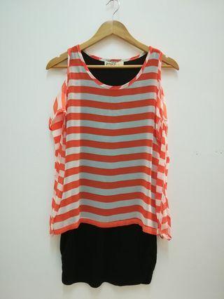 Double layer stripes dress