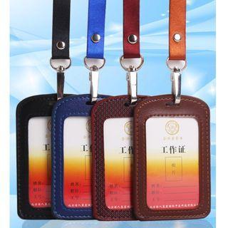 High grade leather badge office card holder badge lanyard card holder