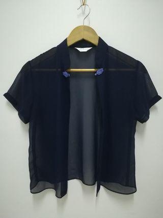 Sheer oriental outer wear (dark navy blue)