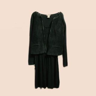 Suede combi jacket