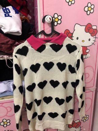 Sweater White with Heart