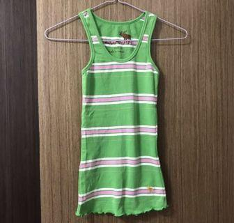 Looks New Abercrombie & Fitch A&F Green Striped Singlet Sleeveless Top