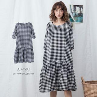 🚚 拼接打摺傘襬格紋棉麻洋裝