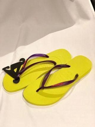 Havaianas slim Neon yellow/purple size 37/38
