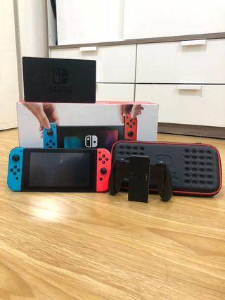 Nintendo Switch lengkap dengan box+accessories+ game lengkap